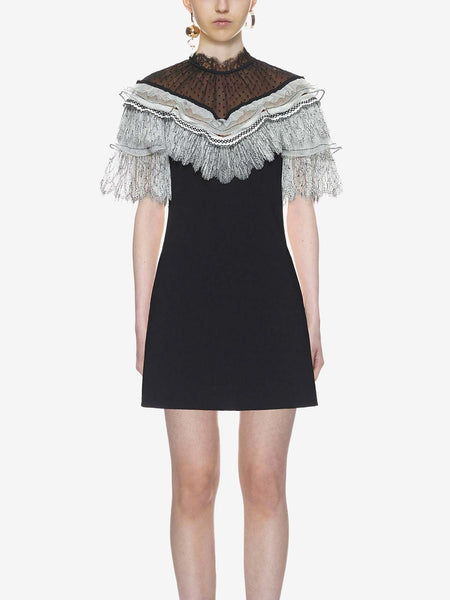 Black Stand Collar Sheer Lace Panel Frill Trim Mini Dress