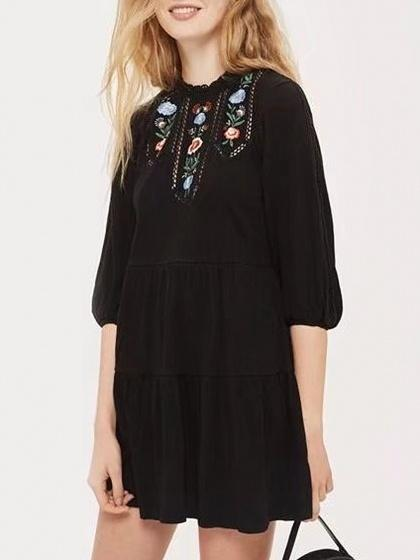 Black Embroidery Detail Cut Out Back Long Sleeve Mini Dress
