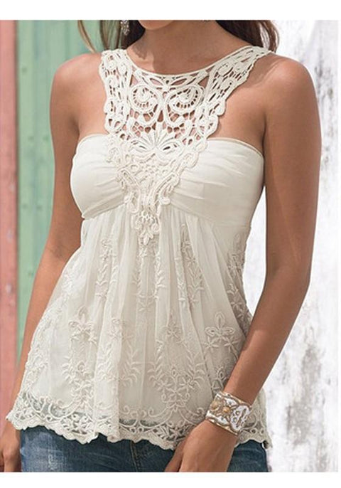 DaysCloth White Cut Out Lace Pleated Round Neck Going Out Cute Vest