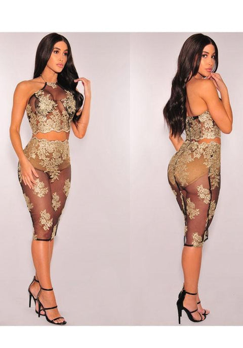 DaysCloth Black-Golden Flowers Embroidery Zipper Halter Neck See-through Bodycon Clubwear Midi Dress