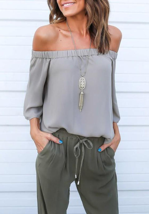 DaysCloth Grey Plain Tie Back Boat Neck Fashion Blouse