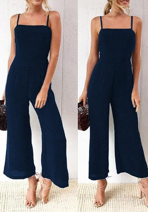 DaysCloth Navy Blue Condole Belt Zipper Elastic Waist Nine's Jumpsuit