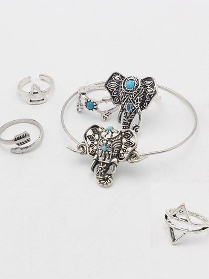 Boho Vintage Elephant Silver Arrow Shape Ring Set Midi Rings 6 PCS