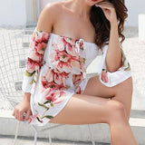 White Floral Drawstring Elastic Waist Fashion Short Jumpsuit
