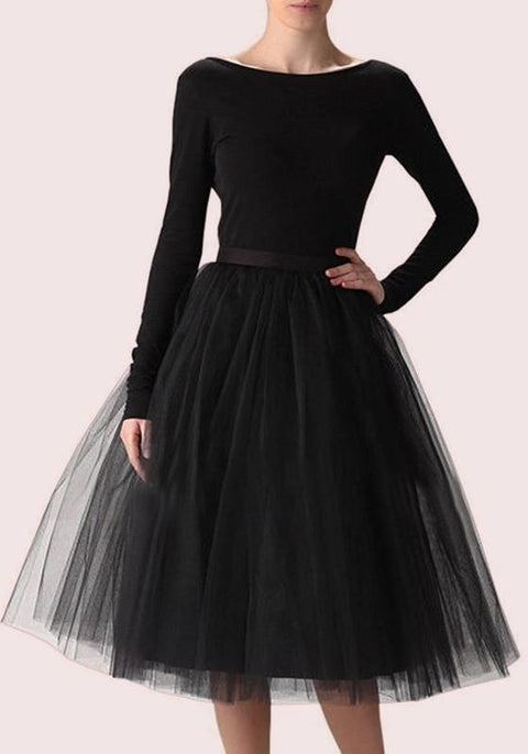 DaysCloth Black Grenadine High Waisted Knee Length Fashion Skirt