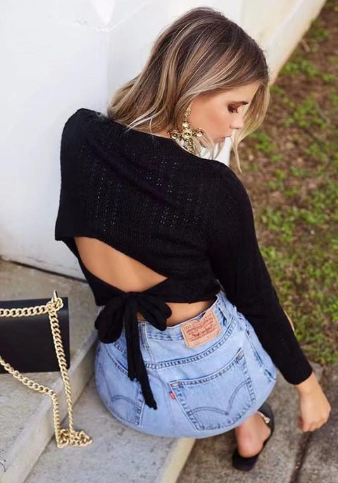 DaysCloth Black Cut Out Lace-up Backless Going out Casual Pullover Sweater
