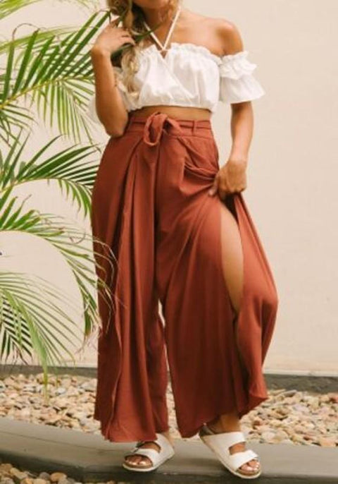 DaysCloth Purplish Red Sashes Draped Double Slit High Waisted Oversize Long Pants