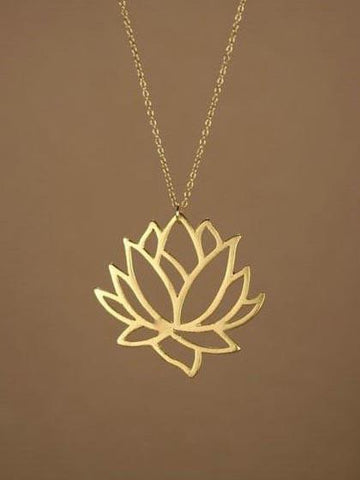 DaysCloth Delicate Lotus Flower Gold Chain Necklace