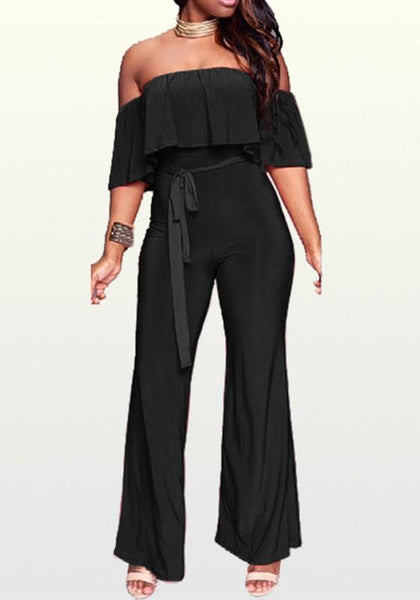 Black Ruffle Sashes Off Shoulder Backless One Piece Party Wide Leg Long Jumpsuit