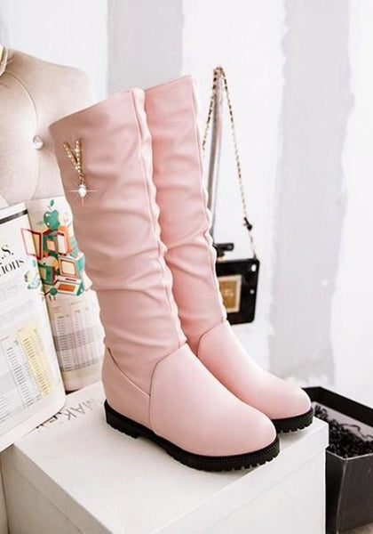 New Pink Round Toe Flat Rhinestone Casual Mid-Calf Boots