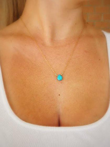 Blue Turquoise Pendant Necklace