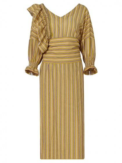 DaysCloth Yellow Stripe V-neck Ruffle Detail Long Sleeve Dress