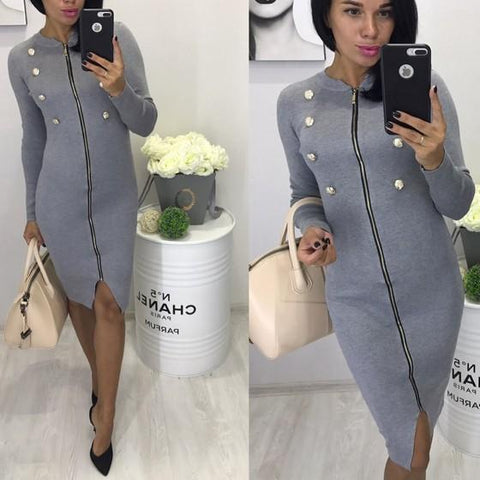 DaysCloth Grey Zipper Studded Cut Out Long Sleeve Fashion Midi Dress