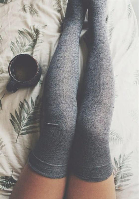 DaysCloth Grey Plain Ruffle Elastic Waist Sweet Knit Leggings