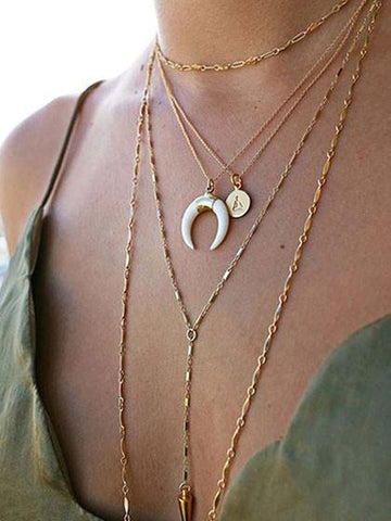 DaysCloth Boho Horn Shape Pendant Necklace