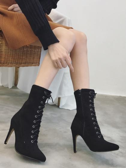 Black Faux Suede Lace Up Pointed Heeled Boots