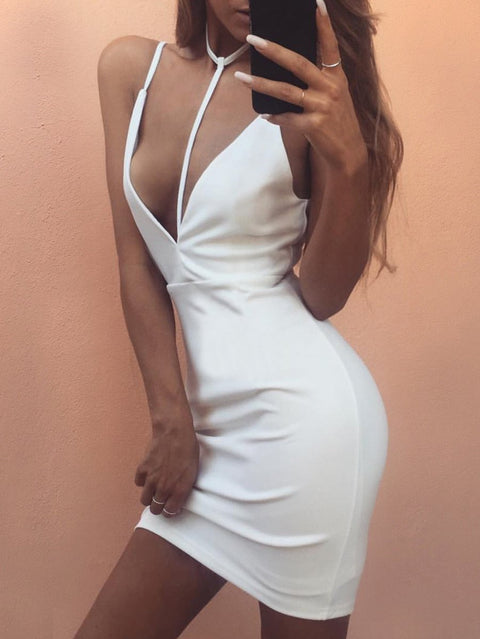 DaysCloth White Spaghetti Strap Plunge Open Back Mini Dress
