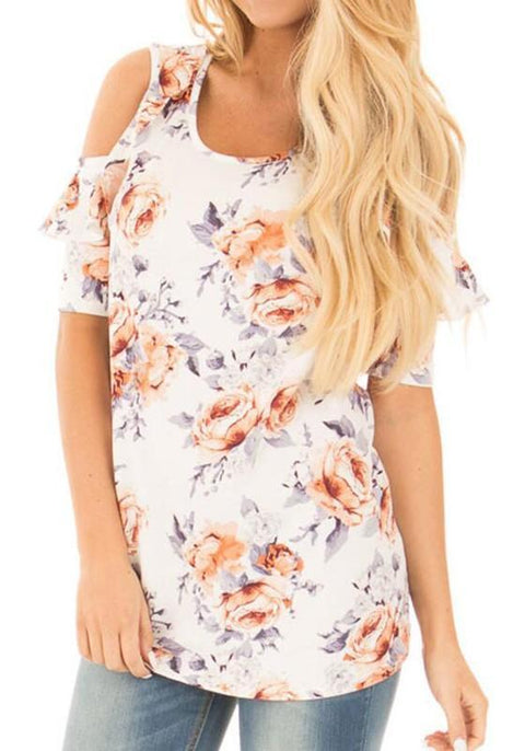 DaysCloth White Floral Print Cut Out Off-shoulder Ruffle Oversize Sweet T-Shirt