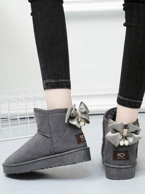 DaysCloth New Grey Round Toe Bow Pearl Flat Casual Boots