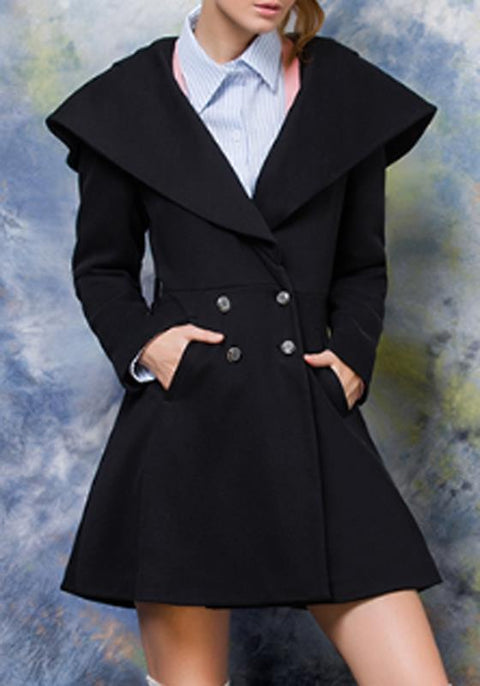DaysCloth Black Patchwork Pockets Double Breasted Turndown Collar Long Sleeve Fashion Coat