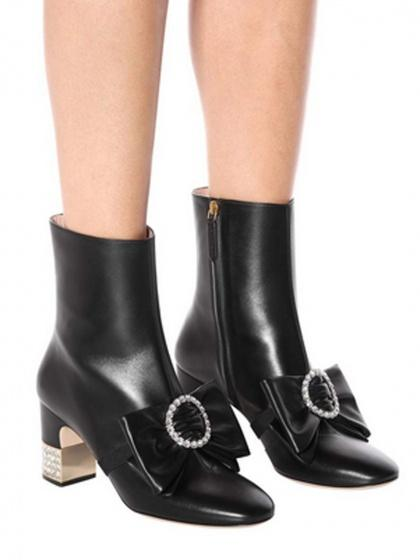 Black Leather Crystal Embellished Bow Detail Heeled Boots