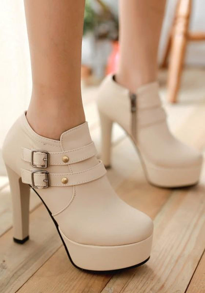 New Beige Round Toe Chunky Double Buckles Fashion Ankle Boots