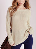 Beige Lace Up Back Ribbed Knit Sweater