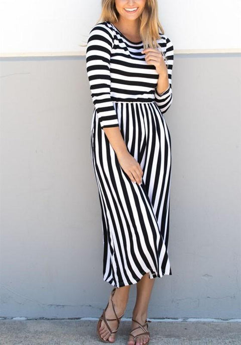 DaysCloth White-Black Striped Print Plus Size 3/4 Sleeve High Waisted Midi Dress