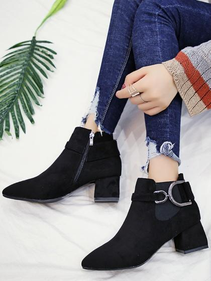 DaysCloth Black Faux Suede Pointed Toe Ankle Boots
