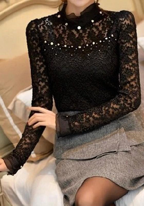DaysCloth Black Beaded Beading Lace Office Worker/Daily Going out Blouse