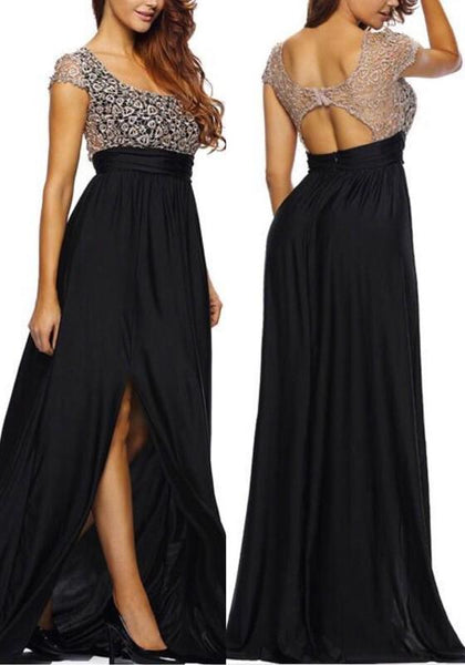 New Black Patchwork Lace Slit Side Backless Round Neck Bridesmaids Banquet Prom Maxi Dress