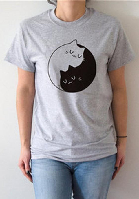DaysCloth Grey Yin Yang Cat Print Round Neck Short Sleeve Casual T-Shirt