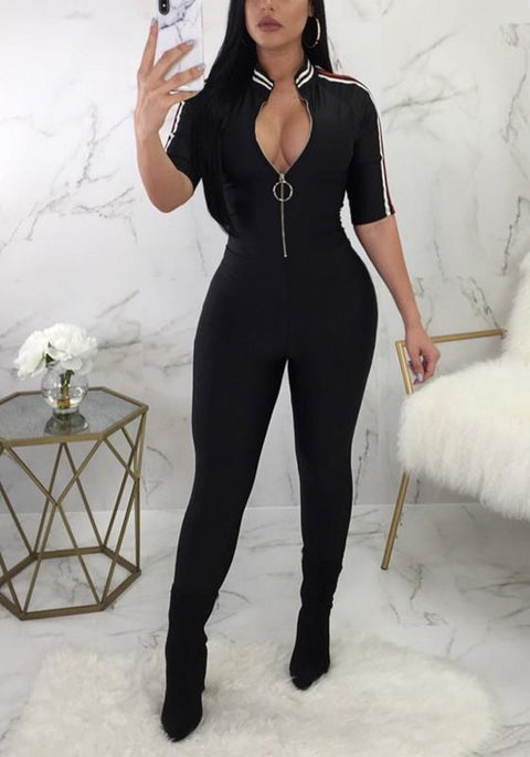 DaysCloth Black Striped Zipper Deep V-neck Outs Bodycon Clubwear Party Long Jumpsuit
