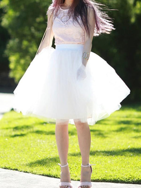 New White Grenadine Pleated High Waisted Sweet Fluffy Tutu Skirt