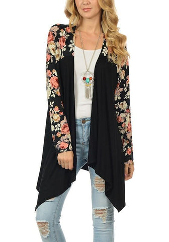 Black Floral Print Long Sleeve Casual Coat