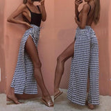 Black Plaid Drawstring Side Slit Flowy Sweet Casual Wide Leg Long Pants