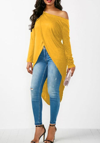 Yellow Irregular Asymmetric Shoulder Cut Out High-low Long Sleeve T-Shirt