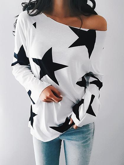 Teenage Girls One Shoulder Star Print Long Sleeve Top