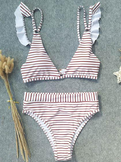 Simple Free Striped High Waitst Bikini Set
