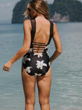Cute Stitching Mesh Floral One Piece Black Bikini Set