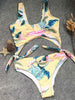 DaysCloth Cute One Piece Retro Yellow Floral Bikini Set