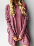 Stylish Oversize Solid Color Long Sleeve Top