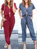 Sexy V neck Solid Color Jumpsuit