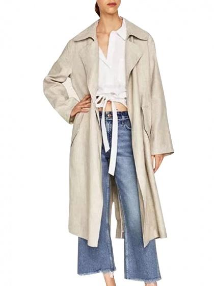 DaysCloth Beige Lapel Open Front Longline Trench Coat