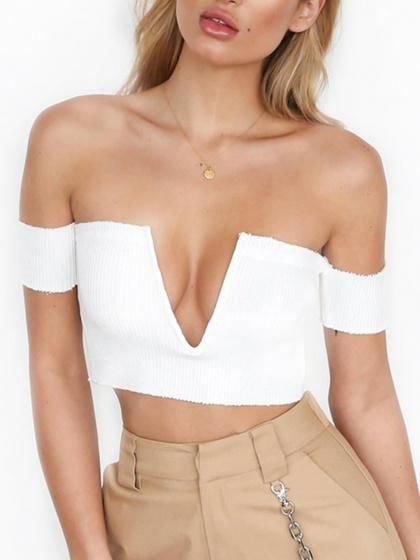 White Deep V Front Off Shoulder Rib Knit Crop Top