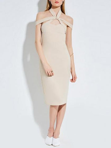 Beige Halter Cross Front Bodycon Midi Dress