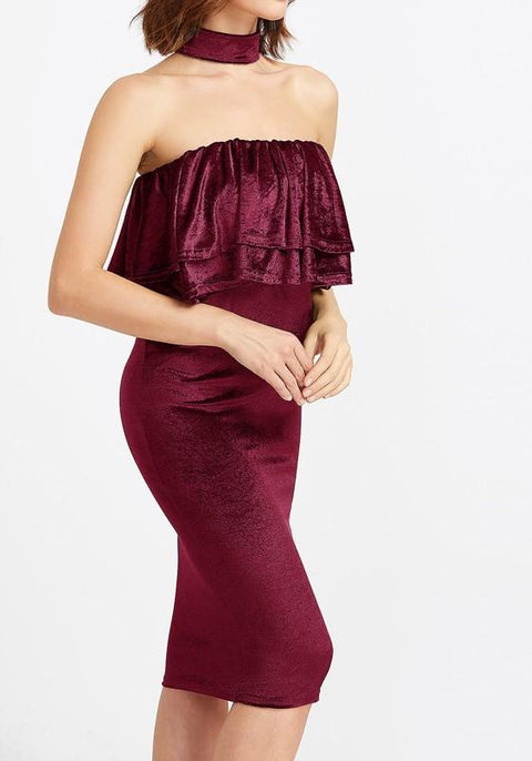 DaysCloth Red Plain Bandeau Cascading Ruffle Fashion Midi Dress