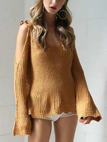 DaysCloth Brown V-neck Cold Shoulder Flare Sleeve Knit Jumper