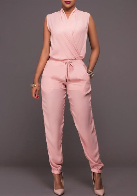 DaysCloth Pink Drawstring Pockets Two Piece V-neck Going out Long Jumpsuit