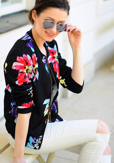 DaysCloth Black Flowers Print V-neck Zipper Long Sleeve Fashion Coat